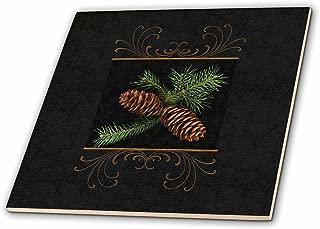 3dRose ct_202963_3 Rich Black Damask & Gold Swirls Winter Pine Cone Watercolor Ceramic Tile, 8
