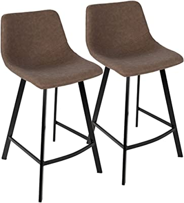 Contemporary Home Living Set of 2 Outlaw Industrial Black with Brown Faux Leather Counter Stools 35""