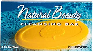 NaturesPlus Natural Beauty Cleansing Bar - 500 iu Vitamin E with Allantoin, 3.5 Ounce Bar - Natural Cleanser, Made with Organic Ingredients, Anti-Aging- pH of 4.5 - Vegan