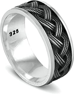 Chimoda Mens Silver 8mm Band Ring with Rope Motif in 925 Sterling