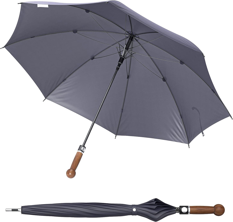 Sicherheitsschirm Con curso de vídeo gratuito, extremadamente estable, protección contra tormentas y viento, autodefensa, 90 cm de largo.