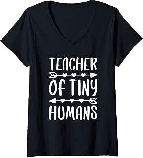 Womens Teacher Of Tiny Humans T-Shirt Teacher Gift Shirt V-Neck T-Shirt