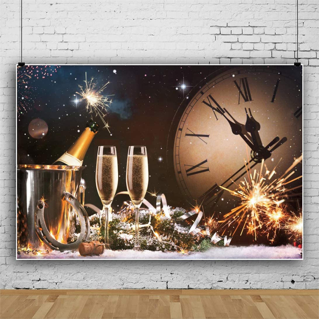 Renaiss 7x5ft 2021 Happy New Year Backdrop Wine Glasses Champagne Bucket Sparkle Firework Countdown Clock Photography Background Winter Holiday New Year Christmas Carnival Party Photo Studio Props