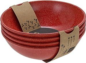 EVO Sustainable Goods 35 oz Dinnerware Bowl Set, Red