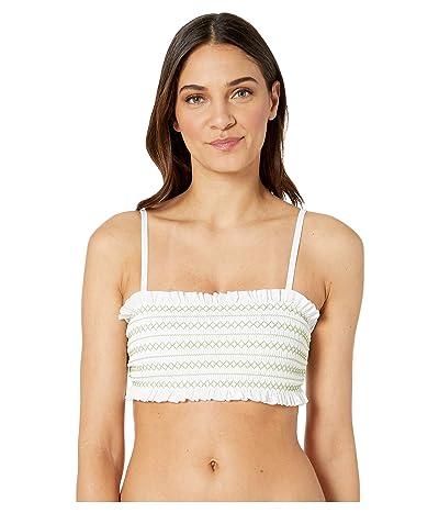 Tory Burch Swimwear Costa Tie Bandeau (White/Jardin Green) Women