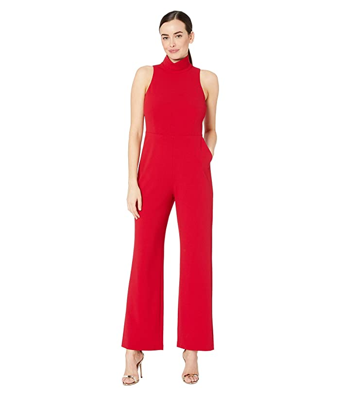Vince Camuto  Sleeveless Mock Neck Crepe Ponte Jumpsuit (Tulip Red) Womens Jumpsuit and Rompers One Piece