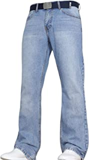 Von Denim Men's Wide Leg Bootcut Flared Blue Heavy Denim Jeans in All Waist and Sizes Free Belt by JEANBASE
