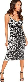Women's Sleeveless V Neck Spaghetti Strap Leopard Bodycon Midi Party Dress