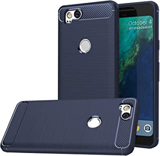 Google Pixel 2 Case,Google Pixel2 Case, Dretal Carbon Fiber Shock Resistant Brushed Texture Soft TPU Phone case Anti-Fingerprint Flexible Full-Body Protective Cover for Google Pixel 2 (Navy)