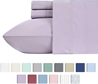 600 Thread Count 4pc King Lavender Sheet Set - 100% Cotton Deep Pocket Bedsheets for Bed - Luxury Sheets Long Staple Cotton, Fits Mattress Upto 18'' Deep Pocket, Sateen Weave, Soft Cotton