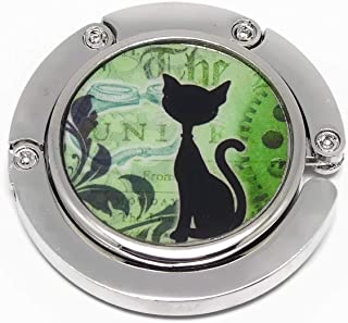 Borsetta portaborsa resina steampunk gatto verde nero bianco ruote d'ingranaggi personalizzati regali regalo Natale amici ...