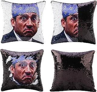 cygnus The Office Prison Mike Flip Sequin Pillow Cover,Magic Reversible Throw Pillow Case Change Color Decorative Pillowca...