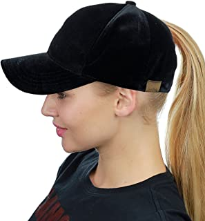 ca4521d6321 C.C Ponycap Messy High Bun Ponytail Soft Velvet Adjustable Baseball Cap Hat