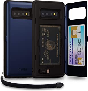 TORU CX PRO Galaxy S10 Plus Wallet Case Blue with Hidden Credit Card Holder ID Slot Hard Cover, Strap, Mirror & USB Adapter for Samsung Galaxy S10 Plus (2019) - Navy Blue