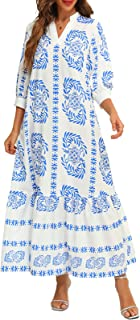 FridayIn Women's A-Line Long Sleeve Summer Fashion Floral Printed V Neck Swing Long Dresses