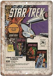 Star Trek Golden Press Comic Book Placa Cartel Vintage Estaño Signo Metal De Pared Póster Retro De Chapa Póster por Bar Café Garaje Gasolinera Casa Club