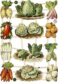 cromos vintage - , hoja 16,5x23,5 cm, verduras, 3hoja