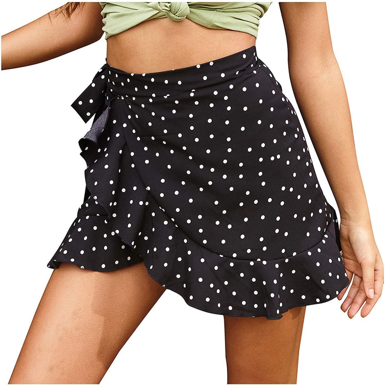 Skirt for Women Girls Polka Dot Floral Slim Falbala Printing High Waist Mini Casual Skirts