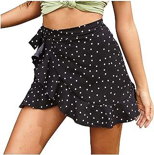 Pleated Mini Skirt for Women Flowy Ruffle Cute Polka Dot Ela