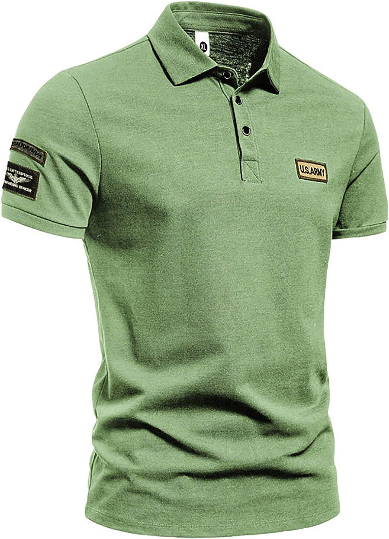 Men's Polo Shirts, Man Outdoor Blouse Button Down Lapel Neck Slim Short Sleeve Casual T Shirt Top