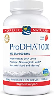 Nordic Naturals ProDHA 1000, Strawberry - 120 Soft Gels - 1660 mg Omega-3 - High-Intensity DHA Formula for Neurological He...