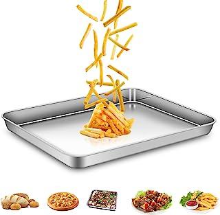 AEMIAO Plaque à Pâtisserie Acier Inox Professionnel Plaque de Cuisson Four pour la Maison Cuisine, Antiadhésive Sain Super...
