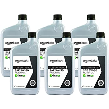AmazonBasics 6-pack of Full Synthetic Motor Oil, SN Plus, dexos1-Gen2, 5W-30, 1 Quart