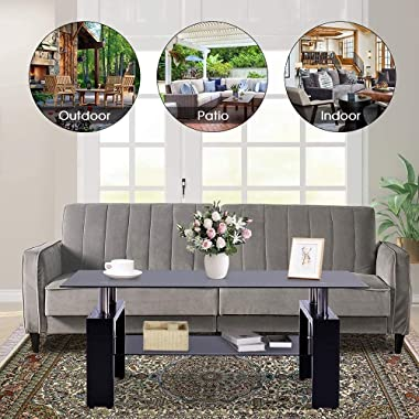 Depointer Life Rectangle Highlight Glass Coffee Table, Clear Coffee Table,Modern Side Center Tables for Living Room,Living Ro