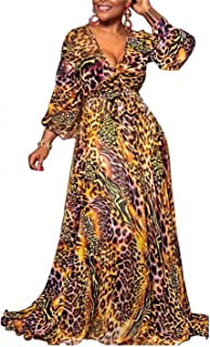 Women's Short Sleeve V Neck Long Maxi Dress Loose African Floral Print A Line Skirt Dresses Plus Size with Pockets Belt