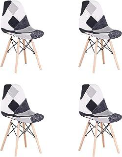 BenyLed Lot de 4 Chaises de Salle à Manger Rétro Patchwork Chaise Tissu Salle à Manger Chaise pour Cuisine Salle à Manger...