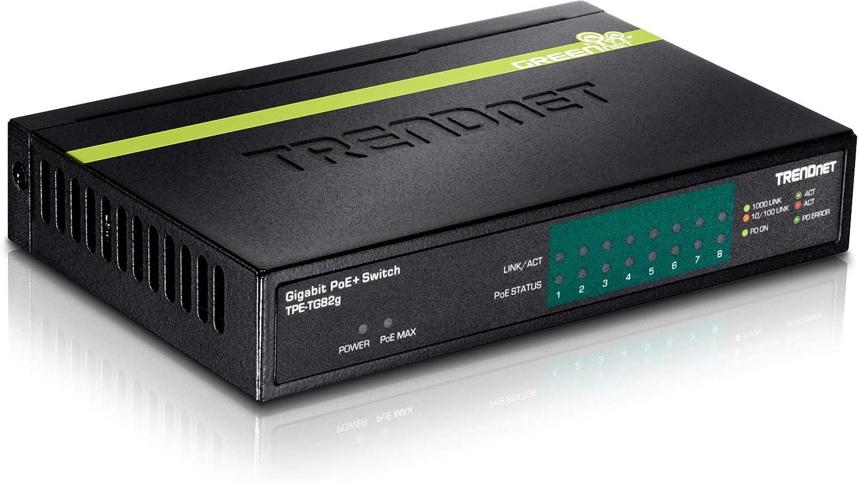 TRENDnet 8-Port GREENnet Gigabit PoE+ Switch, 61W PoE Budget, 16Gbps Switching Capacity, Plug N Play, TPE-TG82G (Renewed)