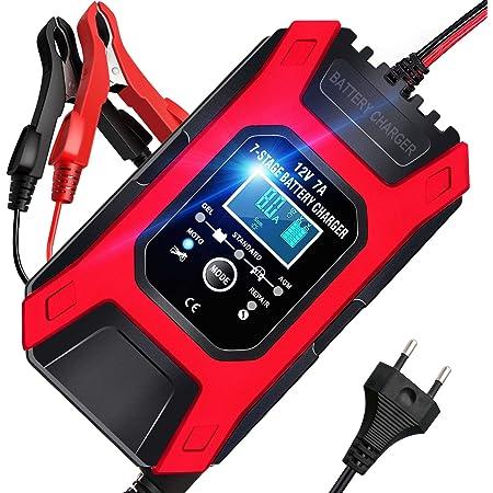 Aokbon Autobatterie Ladegerät 7a 12v Vollautomatisches Intelligentes Ladegeräte Mit Lcd Mehrfachschutz Für Autobatterie Motorrad Rasenmäher Oder Boot Auto