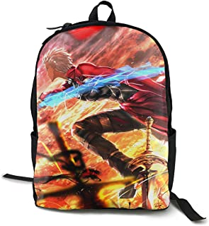 William D Oliver Fate Stay Night-Shirou Vs Archer Anime Style Canvas Unisex Adult Popular School Backpack Lightweight Travel Daypacks Laptop Backpack