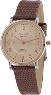 Omax Casual Watch for Women with Brown Band & White Dial - DX30C85A