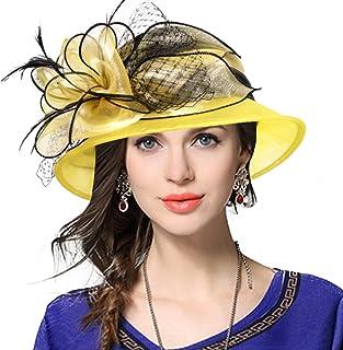 VECRY Lady Derby Dress Church Cloche Hat Bow Bucket Wedding Bowler Hats fdb6a3c80d08