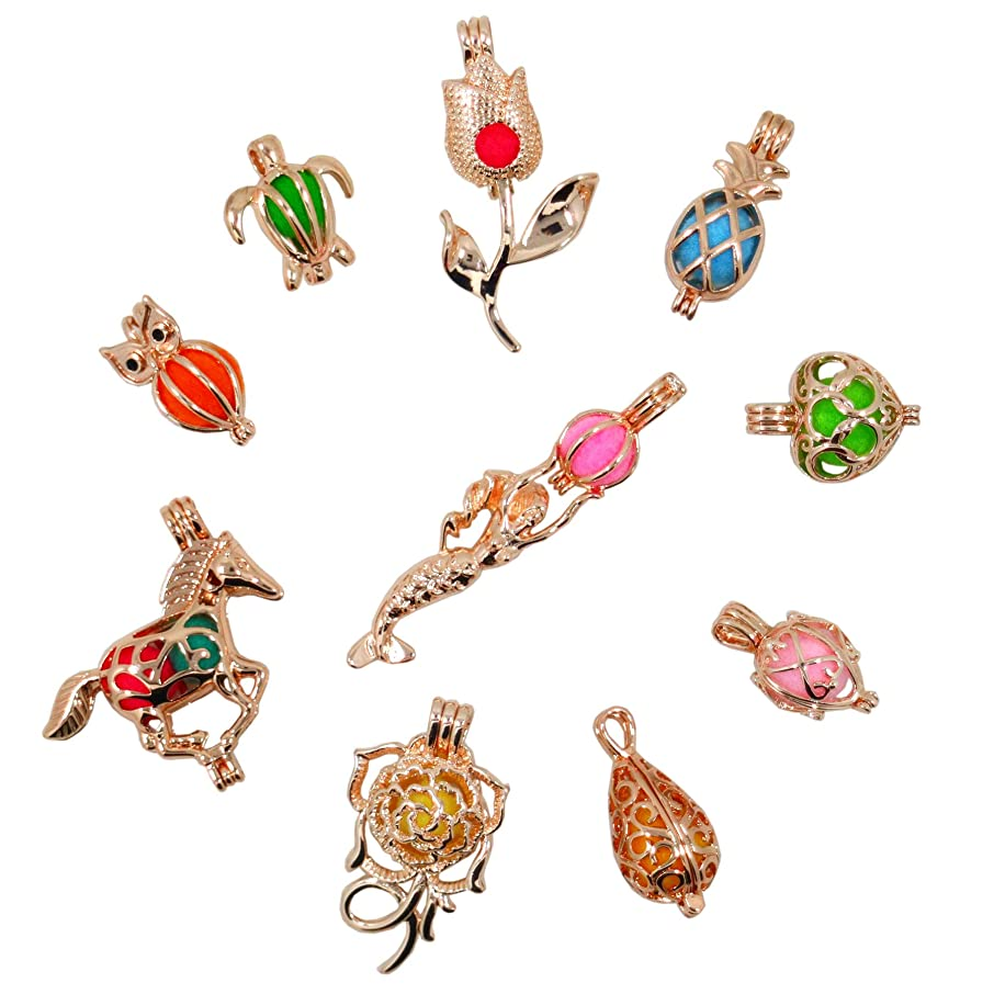 10Pcs Rose Gold Pearl Bead Cages Locket Add Your Own Beads Stones Pearl Wish Cage Perfume Essential Oils Fragrance Diffusing Necklace Pendant Charms