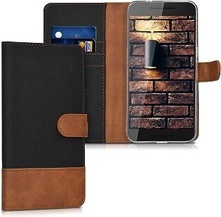 kwmobile Funda para Huawei Google Nexus 6P - Carcasa de Tela y Cuero sintético - con Tapa y Tarjetero Negro/marrón