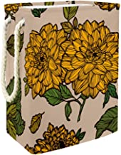 Hamper Vintage Dahlias Flowers Floral Illustration Tall Foldable Laundry Bin with Handles Collapsible Clothes and Toy Stor...