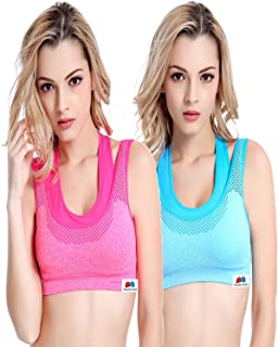 GRAPPLE DEALS Combo of 2 Women's Comfort Revolution Workout Fitness Sports Bras Fake Two Pieces Yoga Athletic Gym Padded Seamless Strap Racerback.