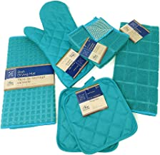 Kitchen Towel Set with 2 Quilted Pot Holders, Oven Mitt, Dish Towel, Dish Drying Mat, 2 Microfiber Scrubbing Dishcloths (T...