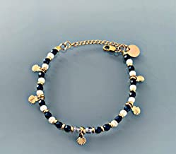 Bracciale shell, bracciale donna gourmete perline howlites, blu navy, conchiglie e perle Heishi placcato oro 24 k, braccia...