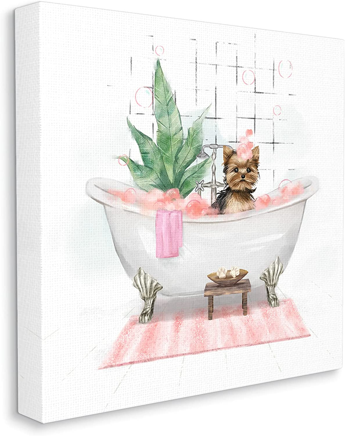 Stupell Industries Chic Yorkie Dog Special Campaign In stock Bath Designed in Bubble Pink