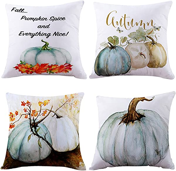 4PC Throw Pillow Covers E Scenery Clearance Sale Thanksgiving Square Decorative Throw Pillow Cases Cushion Cover For Sofa Bedroom Car Home Decor 18 X 18 Inch Blue