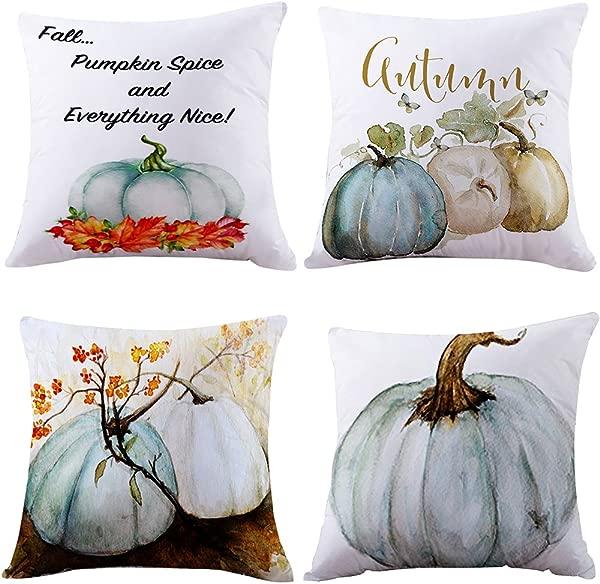 Highpot 4PC Pumpkin Pillow Cover Halloween Thanksgiving Decor Pillow Case Sofa Waist Throw Cushion Cover Blue