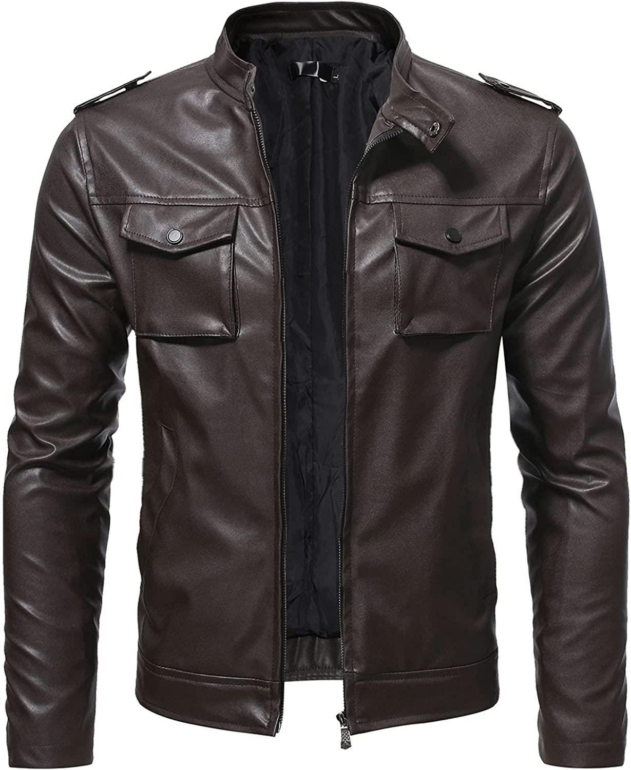 Men's Leather Outerwear Fashion Slim Leather Jackets Stand Collar Zipper Pocket Jacket Coat L-5XL