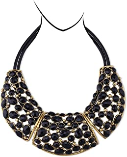 HANTON Boho Vintage Fashion Chunky Necklace for Women Antique Gold Plating Resin Stone Statement Necklace Chokers Pendant ...