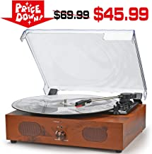Record Player Turntable for Vinyl Record Wireless 3-Speed Belt-Driven with Stereo Speakers Vintage Vinyl Record Player