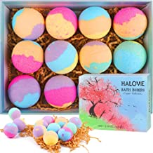 12 Gift Set Natural Bath Bombs, HALOViE Organic Handmade Bubble Bath Ball 2 Oz for Kids Women