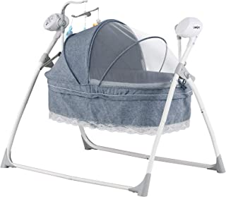Uenjoy Automatic Baby Basket Electric Rocking Multifunction Baby Swing Cradle Bed,Remote or Panel Control, Music, Timing, Adjustable Speed, Gray