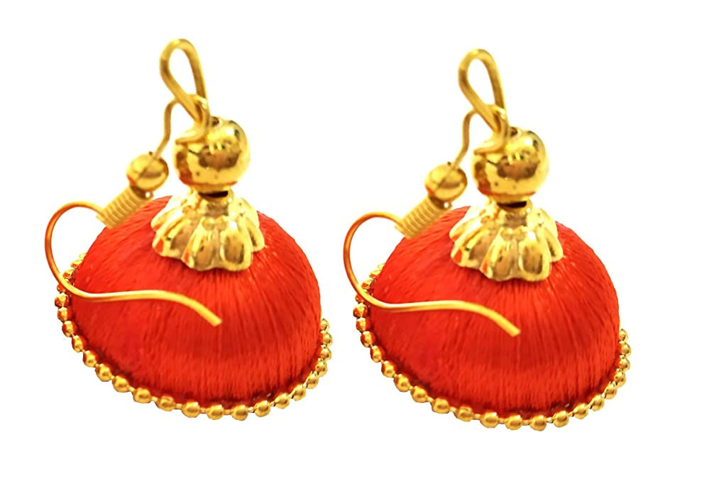 Hot Selling Designer Small Mini Silk Thread Jhumki Earring Set - Orange